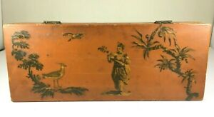 Vintage-Asian-Wood-Box-Calligraphy-Lute-Birds-Hand-Made-Paint-Art-Japan-China