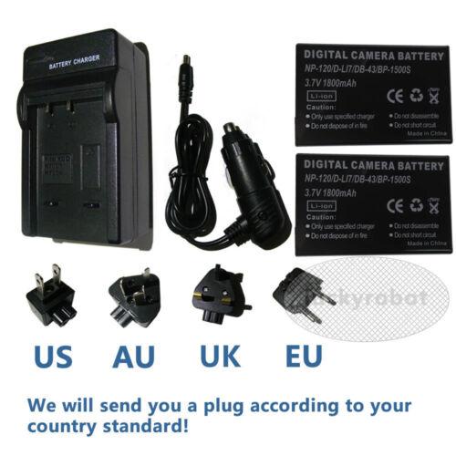 Cargador Para Np-120 Fuji Finepix Np120 dl17 db43 bp1500s Finepix F11 2 x batería