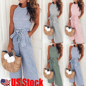 21d431ada93d Image is loading Women-Stripe-Sleeveless-Long-Jumpsuit-Beach-Romper-Playsuit -