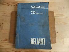 RELIANT REGAL CAR & 5cwt VAN WORKSHOP MANUAL.