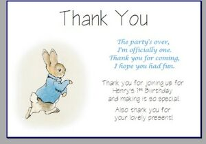 personalised photo paper card thank you notes PETER RABBIT 1ST BIRTHDAY PARTY 2