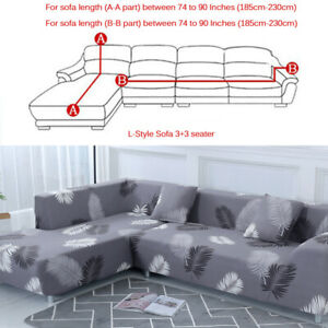 Marvelous Details About 2Pcs Sofa Covers Polyester Fabric Stretch Slipcovers For L Sectional Sofa Gray Uwap Interior Chair Design Uwaporg