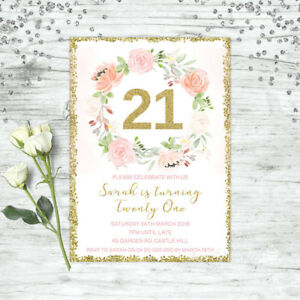 Image Is Loading FLORAL 21ST BIRTHDAY INVITATIONS PINK GOLD CONFETTI TWENTY