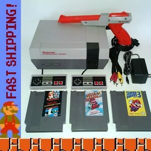 Nintendo nes original console system w super mario bros 1 - How much is a super nintendo console worth ...