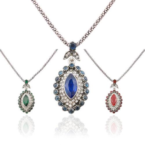 Vente chaude bijoux Marquise Strass Tibétain Plaqué Argent Femme Collier Pendentif
