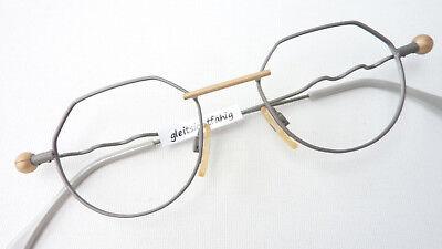 Brille Fassung Sabahn Ausgefallenes Design Grau Gold Matt Gestell Grösse L Reinweiß Und LichtdurchläSsig