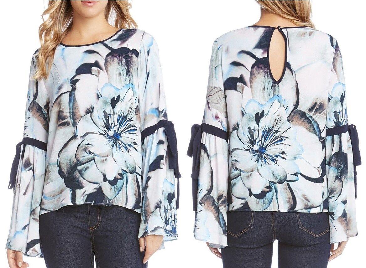 Karen Kane 4L67129 Blau Floral Tie Sleeve Top  -