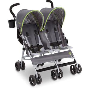 Twin Baby Double Stroller Umbrella Canopy Lightweight Reclining 5 Point Belt New