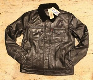 61127acc8 Mens LEVI'S NBA Black Leather Sherpa Motorcycle Trucker Jacket L.A. ...