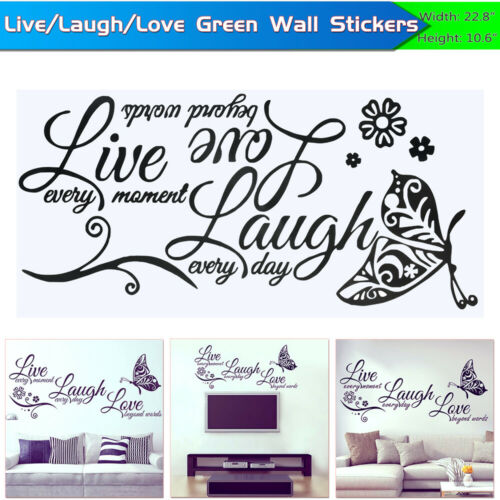 Fashion Live Laugh Love Quotes Wall Stickers Art Room Decal Living Room Decor Decor Decals Stickers Vinyl Art