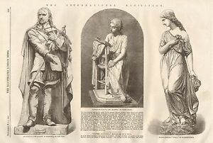 1862-ANTIQUE-PRINT-INTNL-EXHIBITION-3-STATUES-CROMWELL
