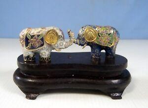 Vintage cloisonne mini elephants pair wood stand circa 1950s  retired unused