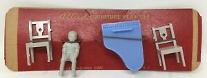 VTG-NOS-On-Card-Dollhouse-Miniature-Allied-Furniture-Play-Set-Boy-Piano-Chairs