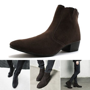 Men/'s Pointed Toe Suede Ankle Boots Cuban Heel Zip British Boots High Top Shoes