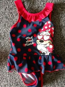 Baby Girls Disney Minnie Mouse Swimsuit 12-18 Months Excellent Condition