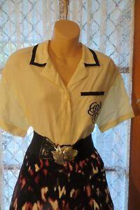 VINTAGE-Style-50-039-S-Cream-Black-TOP-SKIRT-BELT-COMBO-Size-12
