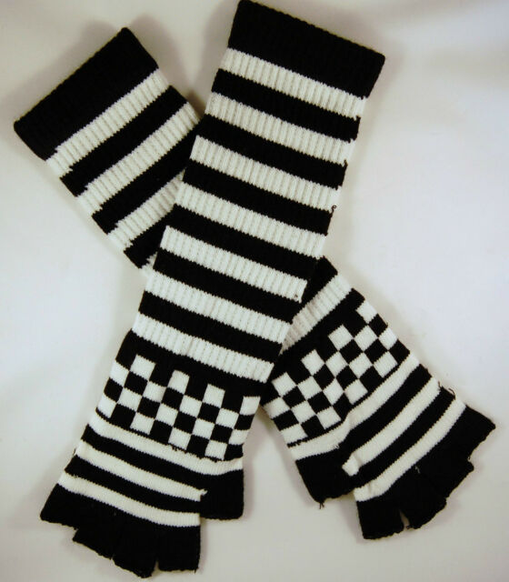 Striped Stripey Check Long Magic Unisex  Fingerless Gloves Emo Gothic Punk