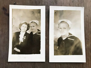 WW2 US Navy USN Serviceman and Mother RPPC Postcards Set of 2