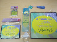 4 Piece Teacher Gift Set - Keyring - Bookmark - Magnet - Plaque -