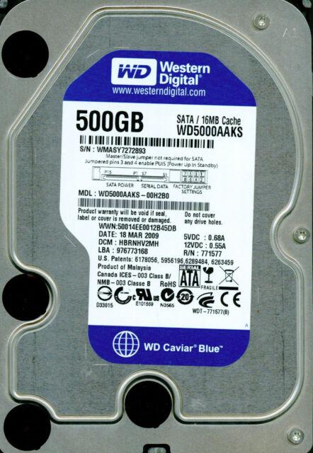 WESTERN DIGITAL SATA 500GB WD5000AAKS-00H2B0 DCM: HBRNHV2MH
