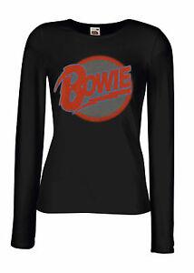 a2c2fb592 DAVID BOWIE LOGO 1 Lady Long Sleeve Black T-shirt Woman Rock Band ...