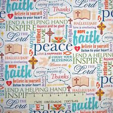 Religious Fabric - Christian Faith Words, Bible, Hearts White - Springs YARD