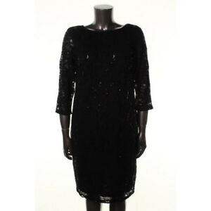8565e1a9eeea ONYX NITE NEW Black Lace 3 4 Sleeves Party Cocktail Dress Plus 16W ...