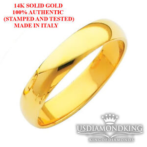 14K-SOLID-YELLOW-GOLD-MENS-WOMENS-PLAIN-FLAT-WEDDING-RING-BAND-3MM-5MM-SIZE-7-12
