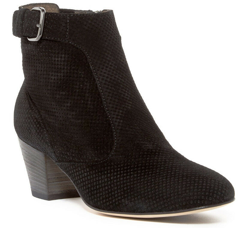 NEW Aquatalia France BLACK Perforated Suede Buckle Ankle Bootie Size 9 Side Zip