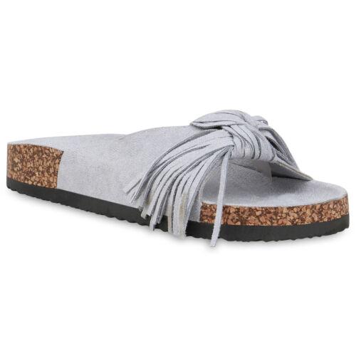 Damen Sandalen Pantoletten Korkoptik Schlappen Fransen Hausschuhe 833666 Schuhe