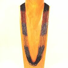 """32"""" Long Multi Strand Black Gold Color Block Handmade Seed Bead Necklace"""