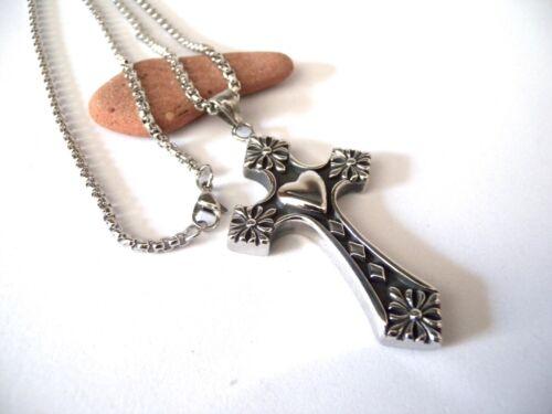 Catena in Acciaio Inox Ciondolo Croce Stilizzata Sacro Cuore Unisex Argentata
