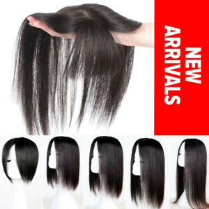 Natural-Hairline-Clip-in-100-Remy-Human-Hair-Mono-Topper-Hairpiece-THICK-P133