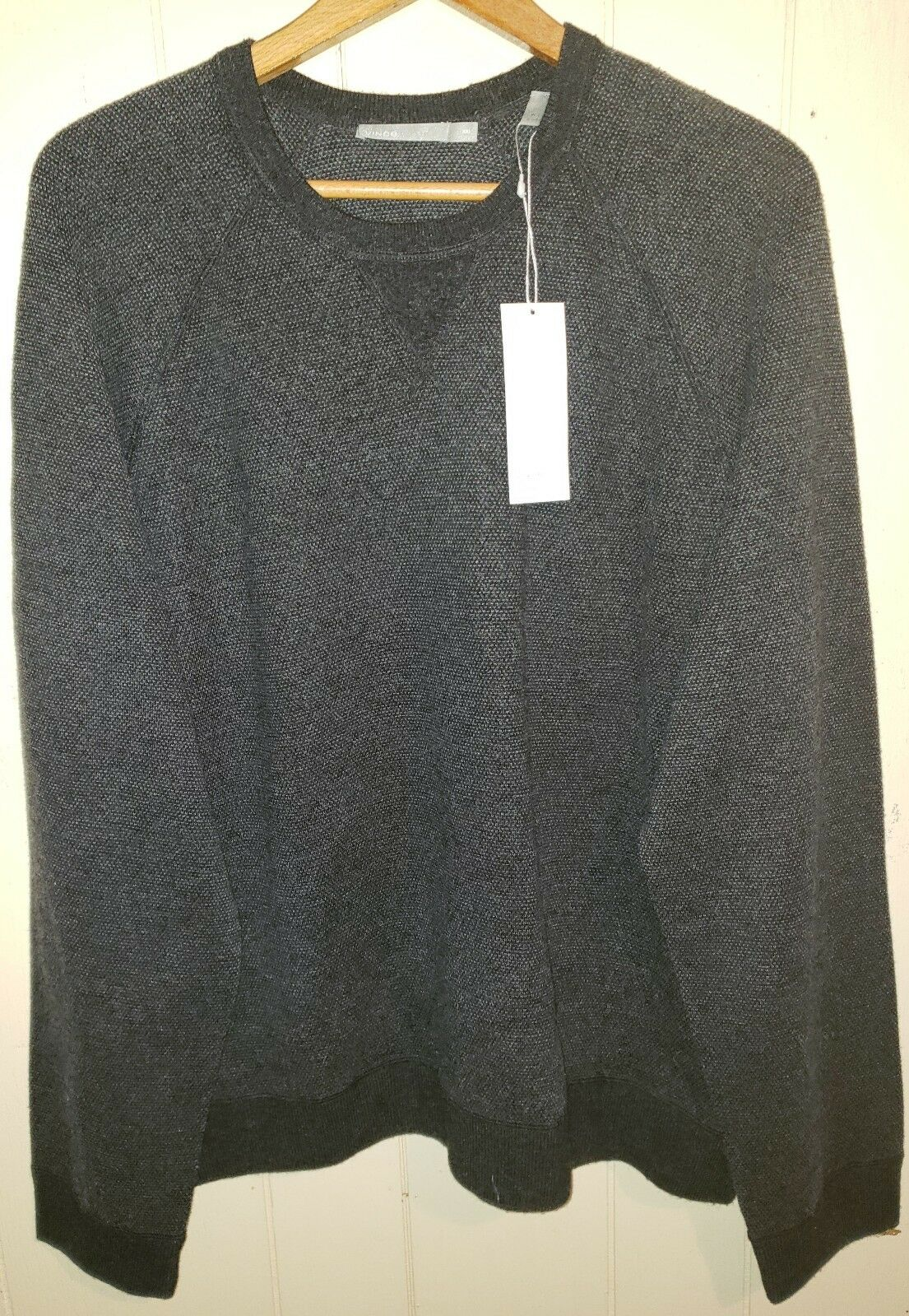 Vince Wool Cashmere Sweater Mens 2XL NWT  Charcoal Grey