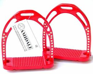 HORSE-RIDING-STIRRUPS-RED-44-CRYSTALS-LIGHT-DURABLE-ALUMINIUM-AMIDALE-BNWT