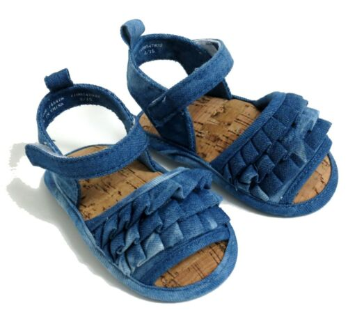 BABY GIRLS BLUE FRILLY RA-RA RUFFLES SANDALS 6-9 MONTHS