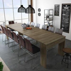 Detalles de Mesa de comedor consola extensible hasta 301 cm mesa cocina,  color Roble Oscuro