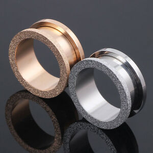 1-Pair-Silver-Rose-Gold-Glitter-Surgical-Steel-Screw-Fit-Ear-Plug-Flesh-Tunnel