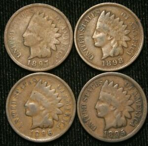 1895-1896-1897-1898-1c-Indian-Head-Cent-Penny-Set-Lot-All-4-Coins-Circulated