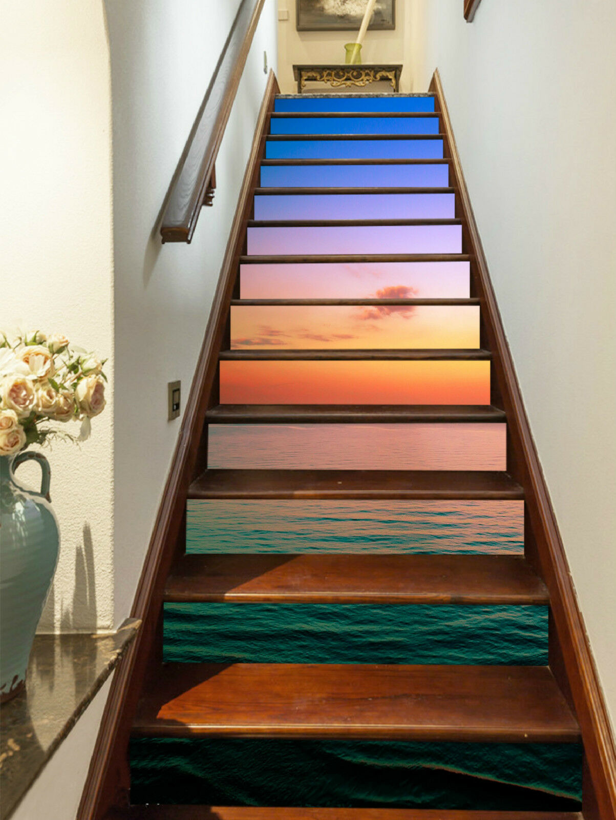3D Grenzenlos Meer Stair Risers Dekoration Fototapete Vinyl Aufkleber Tapete DE