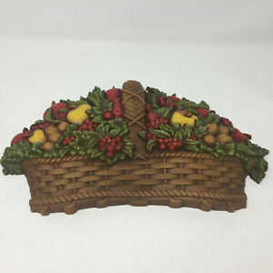 Vintage-Homco-1978-Apple-Fruit-Basket-Wall-Plaque-Hanging-7533-Home-Interiors