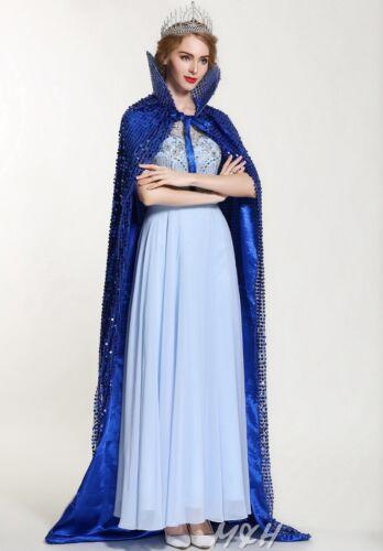 "Sparkling Scaled Sequin Cloak 71/"" Long Cape Satin Lotus Collar Cowl Formal Dress"