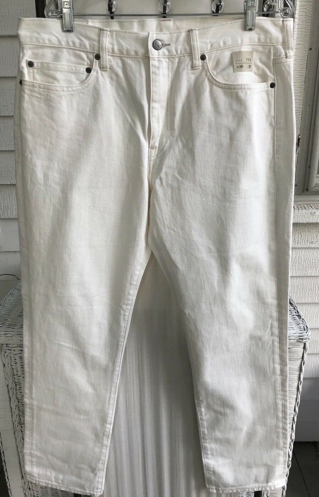 NWT J. Crew 770 STRAIGHT FIT JEANS RINSED WHITE 36 X 30 E8095