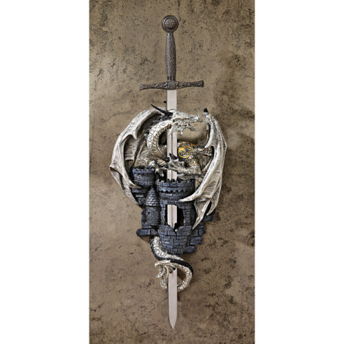 Medieval Coat of Arms Removable Sword Medieval Dragon Castle Wall Sculpture