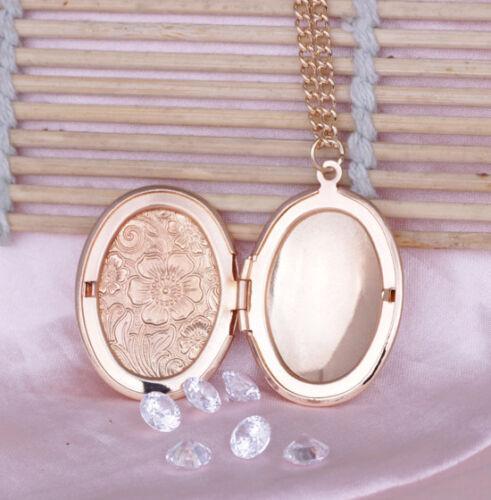 Damen Gold Medaillon Amulett Anhänger zum öffnen mit Kette Medallion für Fotos
