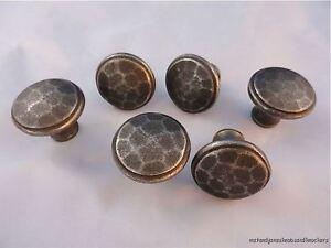 Set di 6 Antico MARTELLATA ferro Arti e Mestieri Stile Porta Manopola Maniglia Cassetto AC1