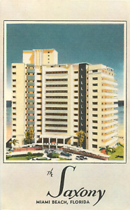 Image Is Loading Miami Beach Fl The Saxony Hotel Linen Postcard