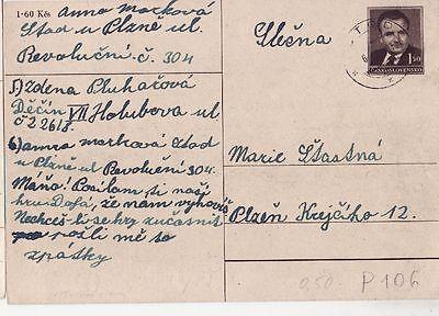 Cssr Tschechoslowakei Postkarte Nr Präsident Klement Gottwald 106 Gest 1 Exzellente QualitäT