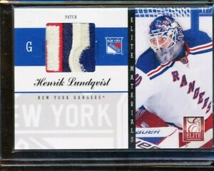 2011 12 Elite Materials Henrik Lundqvist Game Used Jersey Logo Patch