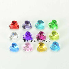 100 Mixed Heart Birthstone Crystal Floating Charm for Living Locket Pendant 5mm